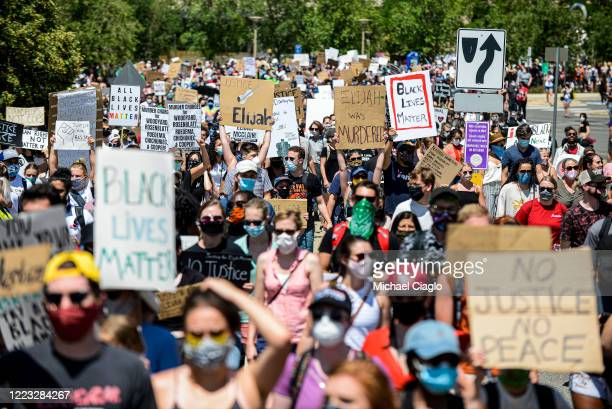 People take to the streets to demand justice for Elijah McClain on June 27 2020 in Aurora Colorado On August 24 2019 McClain was walking home when he...
