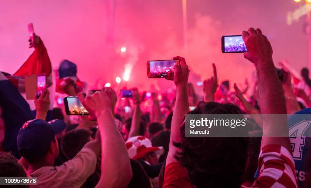 People taking a photo on welcome celebration Croatian soccer team