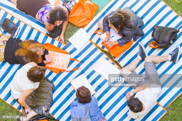 people talking at the grass - picnic blanket stock pictures, royalty-free photos & images