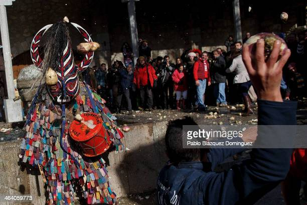 People throw turnips at the Jarramplas as he makes his way through the streets beating his drum during the Jarramplas Festival on January 20 2014 in...