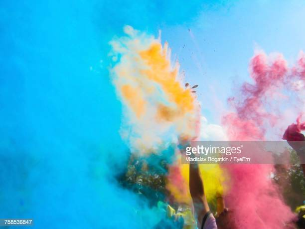 people throwing powder paint - kazakhstan stock pictures, royalty-free photos & images