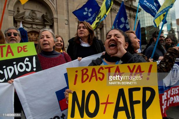People tired of the government of Chilean President Sebastian Pinera including workers and retired people demonstrate against the Pension Fund...
