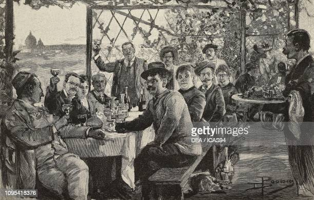 People toasting at a table under an arbor in the vicinity of Rome Italy engraving from a drawing by Dante Paolocci from L'Illustrazione Italiana year...