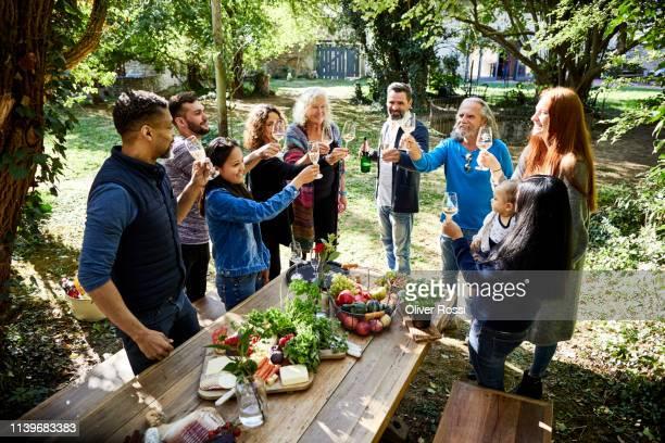 people toasting on a garden party - gast stock-fotos und bilder