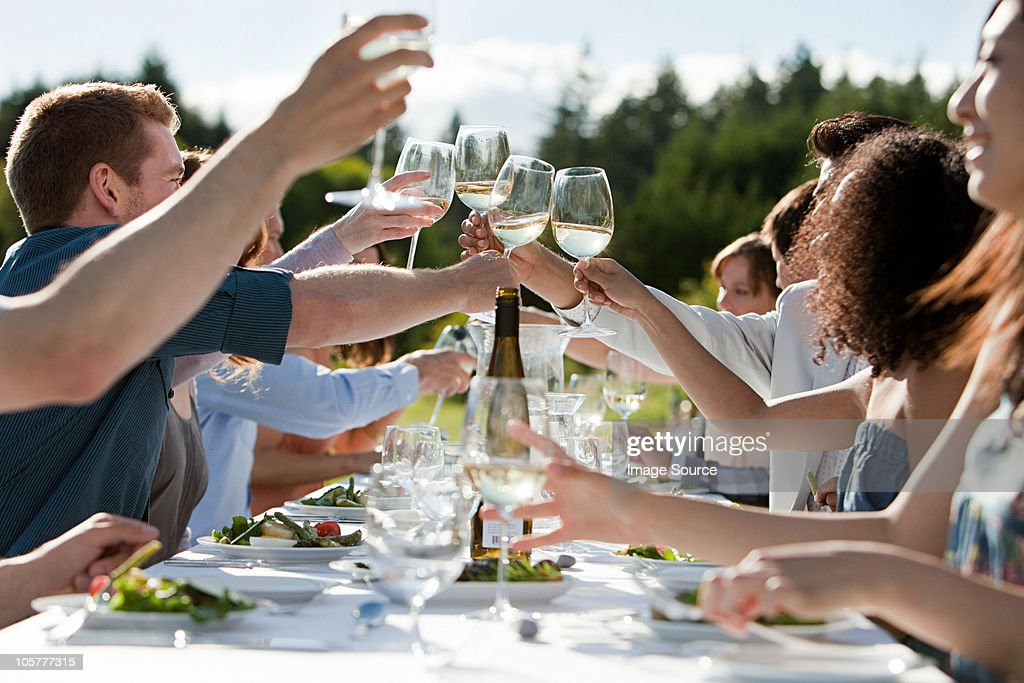 People toasting wine glasses at outdoor dinner party : Stock Photo