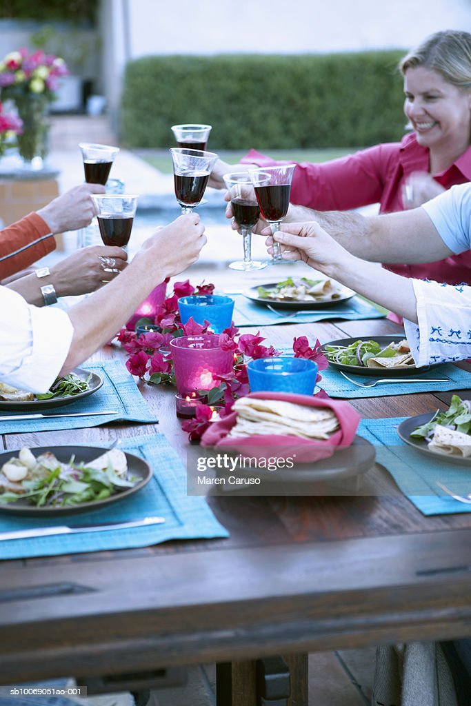 People toasting with wine at dinner party : Stockfoto