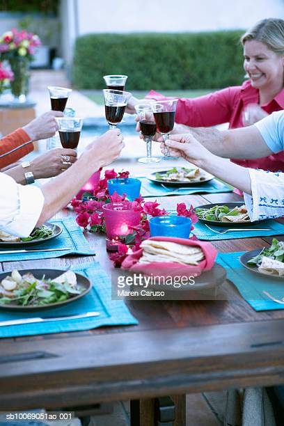 People toasting with wine at dinner party