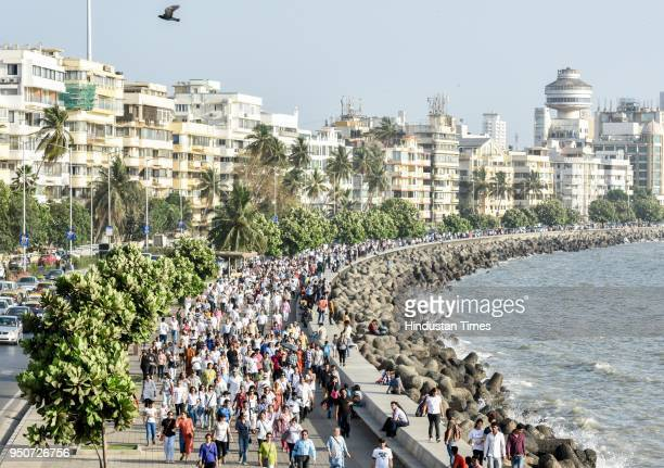 People took part in peaceful walk along with Nirbhaya's parents from Nariman Point to Girgaon Chowpatty against the rape incidents on April 23 2018...