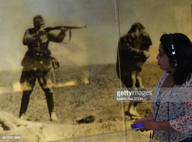 People tour the Los Angeles Museum of the Holocaust after a Holocaust Remembrance Day event in Los Angeles California on April 23 2017 The Government...