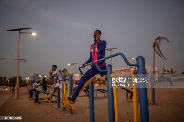 People train near the beach on January 16 2019 in Dakar Senegal