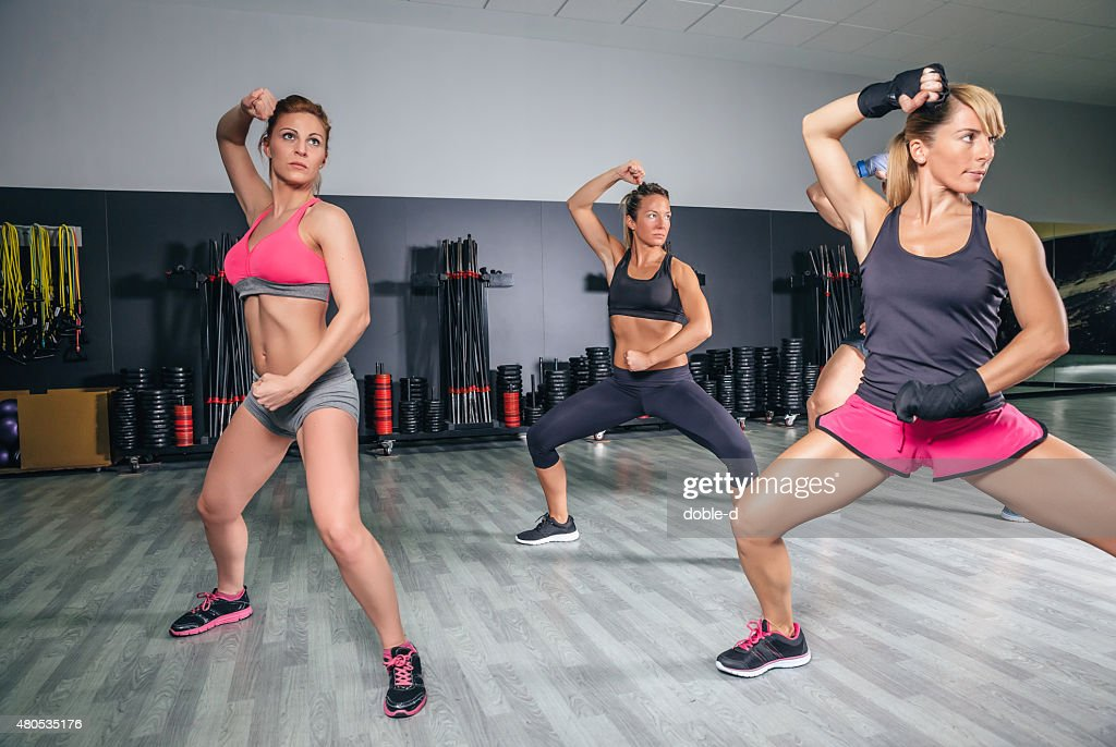 People training boxing in a fitness center : Stock Photo