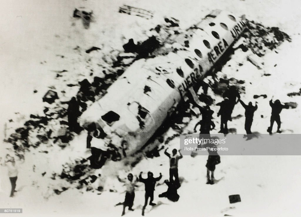 People Transport. Aviation Disasters pic: December 1972. Survivors from the 'Andes Flight Disaster' wait to be rescued. On 13th October 1972 a Uruguay Air Force plane crashed in the mountains close to the Chile / Argentina border, those left alive, after : News Photo