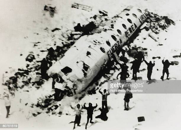 People Transport Aviation Disasters pic December 1972 Survivors from the Andes Flight Disaster wait to be rescued On 13th October 1972 a Uruguay Air...