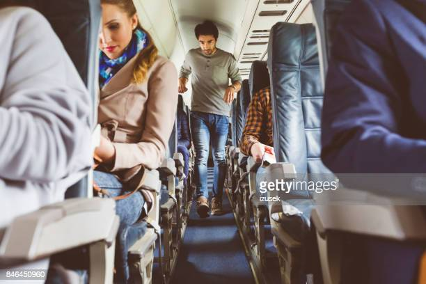 People traveling by airplane