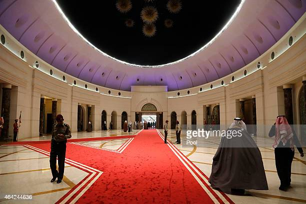 People traverse the Amiri Terminal where Kuwaiti Emir Sheikh Sabah alAhmed alSabah welcomed US Secretary of Defense Ash Carter at Kuwait City...