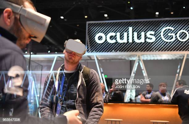 People try out the new Oculus Go during the annual F8 summit at the San Jose McEnery Convention Center in San Jose California on May 1 2018 Facebook...