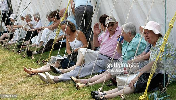 People try to keep cool in the shade of the show tents at the Sandringham Flower Show on July 26, 2006 in King's Lynn, England.