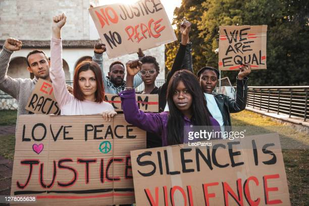 people united against racism. anti-racism protest - police brutality stock pictures, royalty-free photos & images