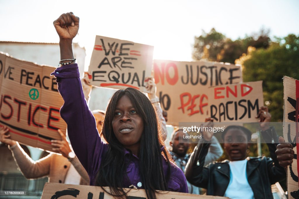 People united against racism. Anti-Racism protest : Stock Photo