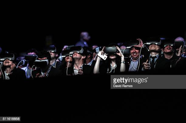 People use Samsung Gear VR devices during the presentation of the new Samsung Galaxy S7 and Samsung Galaxy S7 edge on February 21 2016 in Barcelona...