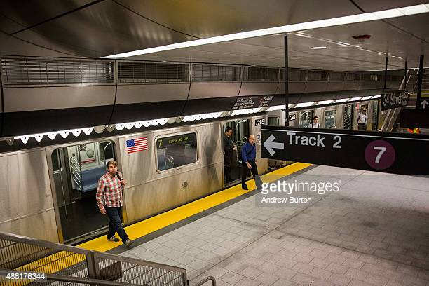 People use the 7 train at a new subway station on September 14 2015 in New York City Known as '34th Street Hudson Yards' it is accessed by the 7...