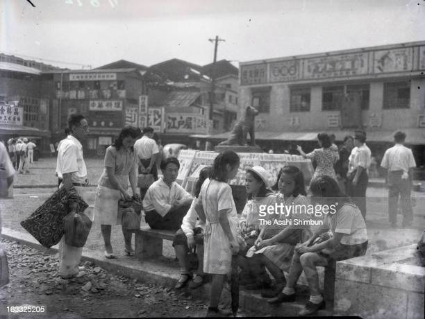 People use the statue of 'Hachi' or 'Chuken HachiKo ' as a meeting point at Shibuya Station on September 12 1948 in Tokyo Japan A large scale...