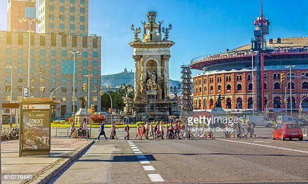 People using sidewalk in Plaza De Espana - Barcelona