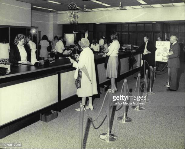 People using the new speed banking system at the Royal Exchange branch of the ANZ in the city March 03 1977