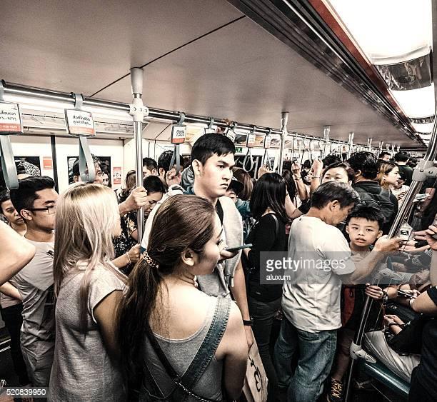People using the subway Bangkok Thailand