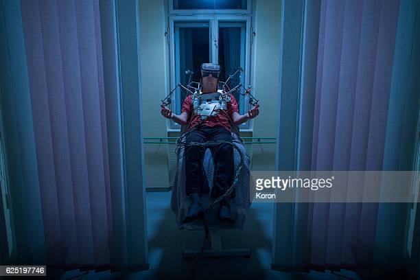 People Using Virtual Reality - tech addiction, futuristic clinic