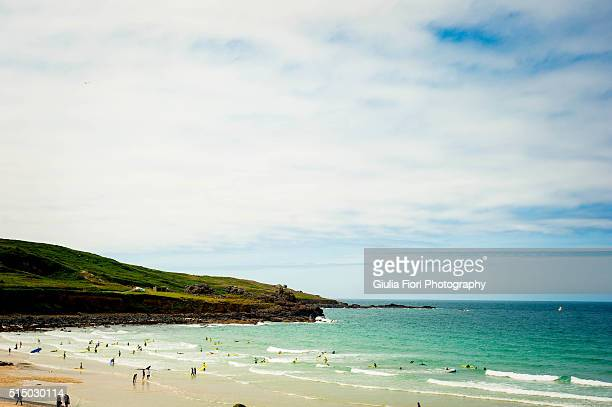 People vacationing in St Ives, Cornwall, UK