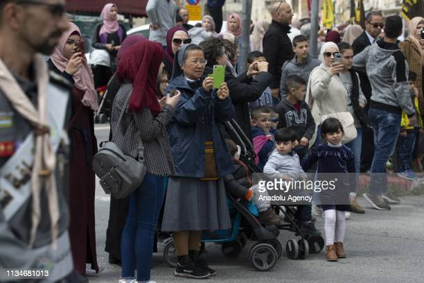 People view an event to mark the Lailat alIsra and Miraj towards Jerusalems iconic AlAqsa Mosque on April 03 2019