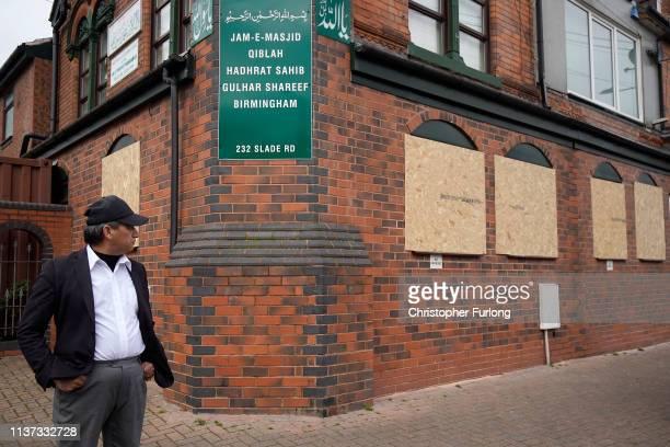 People view damage to JamEMasjid Qiblah Hadhrat Sahib Gulhar Shareef mosque on Slade Road after a hammer attack last night braking it's windows last...