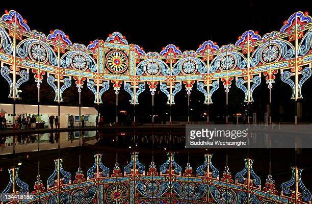 People view illuminations during the Kobe Luminarie annual event on December 1 2011 in Kobe Japan The Luminarie festival is held in memory of the...