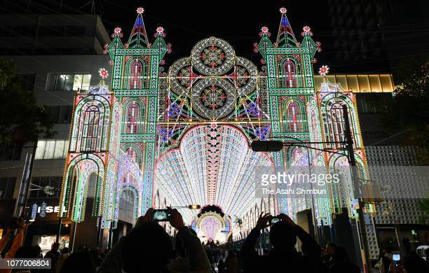 People view illuminations during the Kobe Luminarie test illumination on December 3 2018 in Kobe Japan The Luminarie festival is held in memory of...