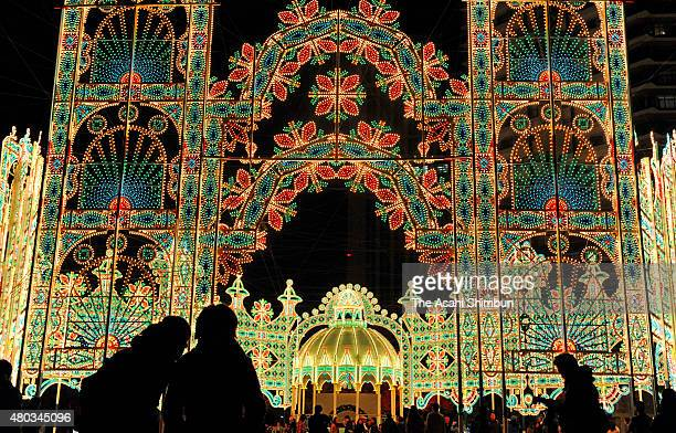 People view illuminations during the Kobe Luminarie test illumination on November 28 2011 in Kobe Japan The Luminarie festival is held in memory of...