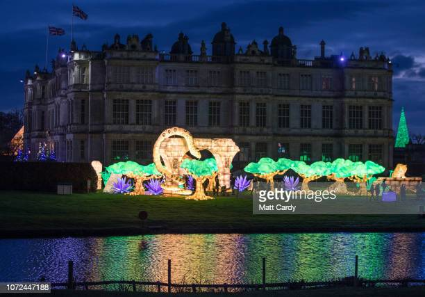 People view the illuminations at the annual Festival of Light at the Elizabethan Longleat House near Frome on December 12 2018 in Wiltshire England...