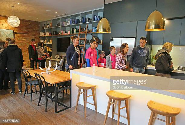 People view the kitchen in the apartment of Michael and Carlene as 'The Block' contestants offer the public a sneak peak of 'The Block' Glasshouse...