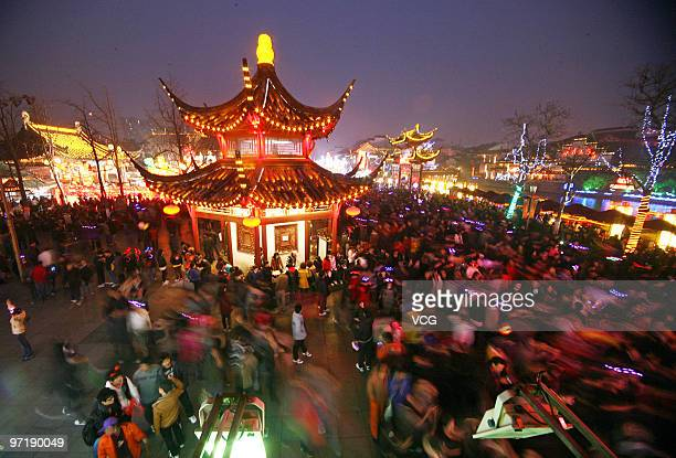 People view the lantern decorations at the Confucius Temple to celebrate the Lantern Festival on February 28 2010 in Nanjing Jiangsu Province of...