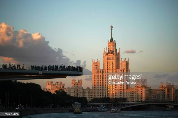 People view the Stalinist Kotelnicheskaya Embankment Building from an obervation platform over the Moscow River on June 20 2018 in Moscow Russia...