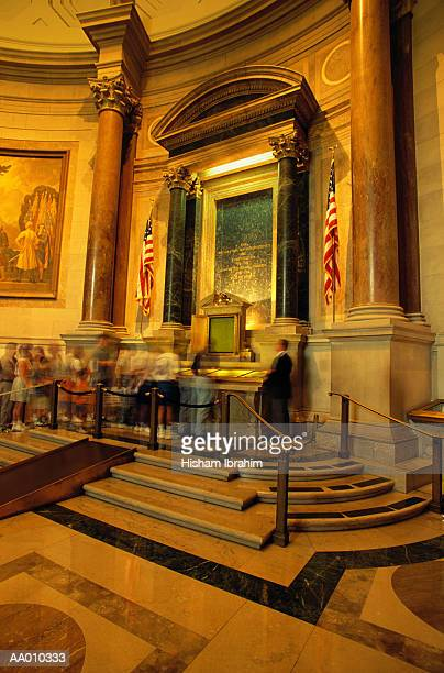 people viewing the declaration of independence - national archives washington dc stock photos and pictures