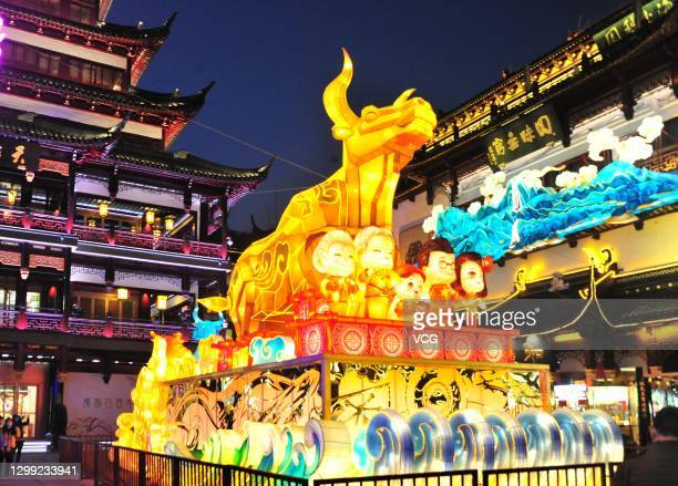 People visit a lantern show at Yuyuan Garden ahead of the Chinese New Year, the Year of the Ox, on January 28, 2021 in Shanghai, China.