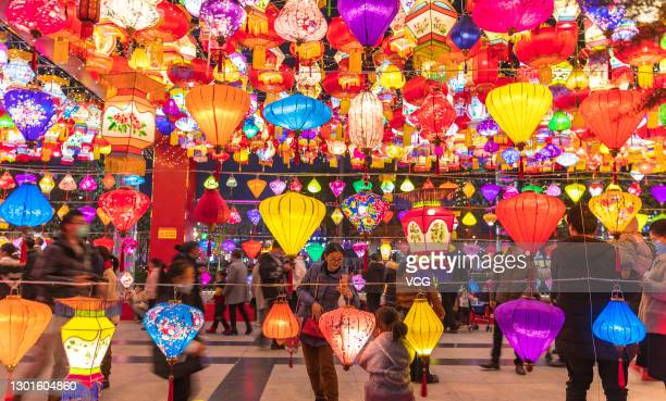 People visit a lantern show to mark the upcoming Chinese New Year, the Year of the Ox, on February 9, 2021 in Yuncheng, Shanxi Province of China.