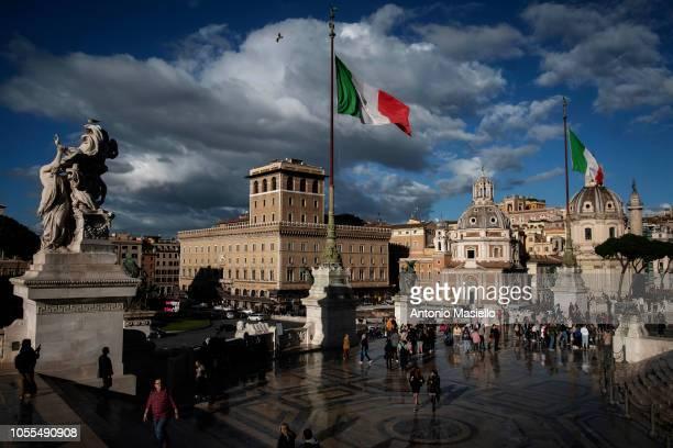 People visit 'Altare della Patria' also known as the 'Monumento Nazionale a Vittorio Emanuele II' in the central Piazza Venezia on October 30 2018 in...