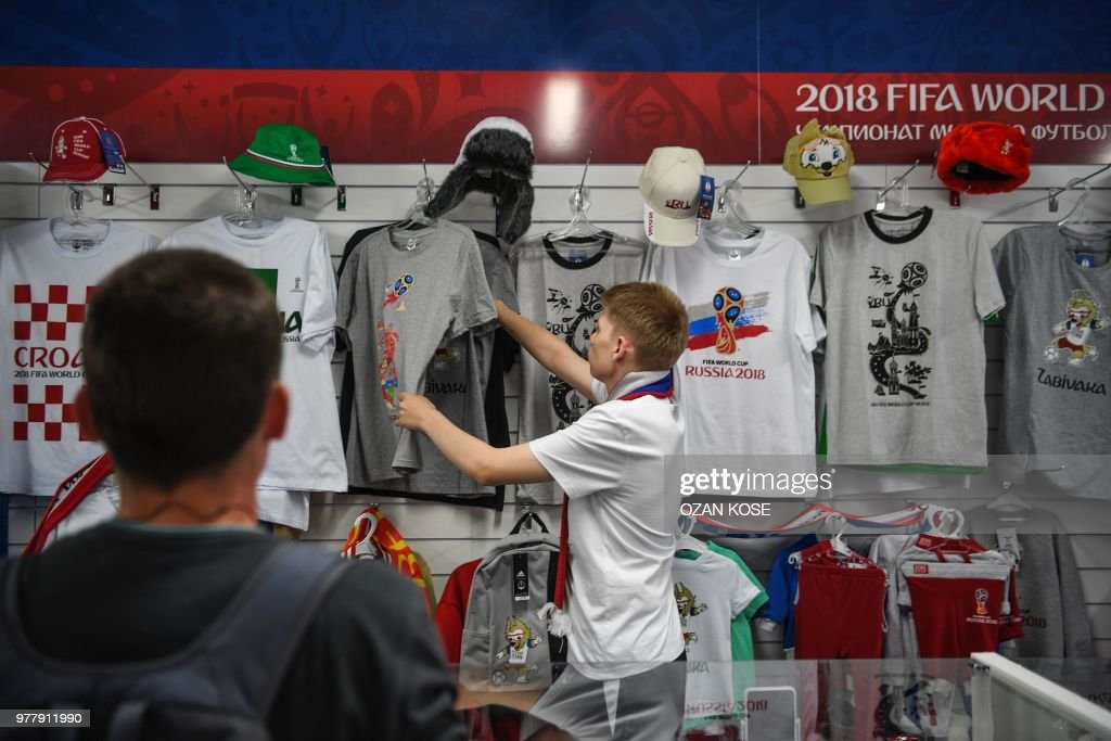 People Visit An Official Fifa Football Fan Shop In Kaliningrad On
