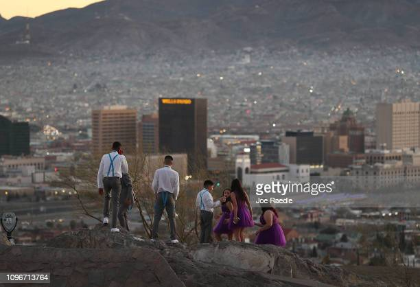People visit an overview of the skyline of El Paso and Ciudad Juarez Mexico on January 19 2019 in El Paso Texas The US government is partially...