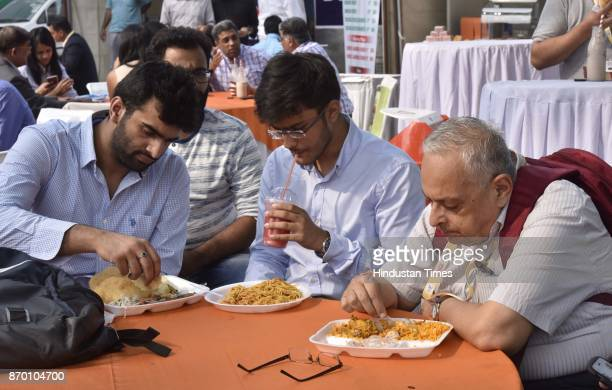 People visit and eating different type Indian food at World Food Festival at India Gate on November 4 2017 in New Delhi India A team of nearly two...