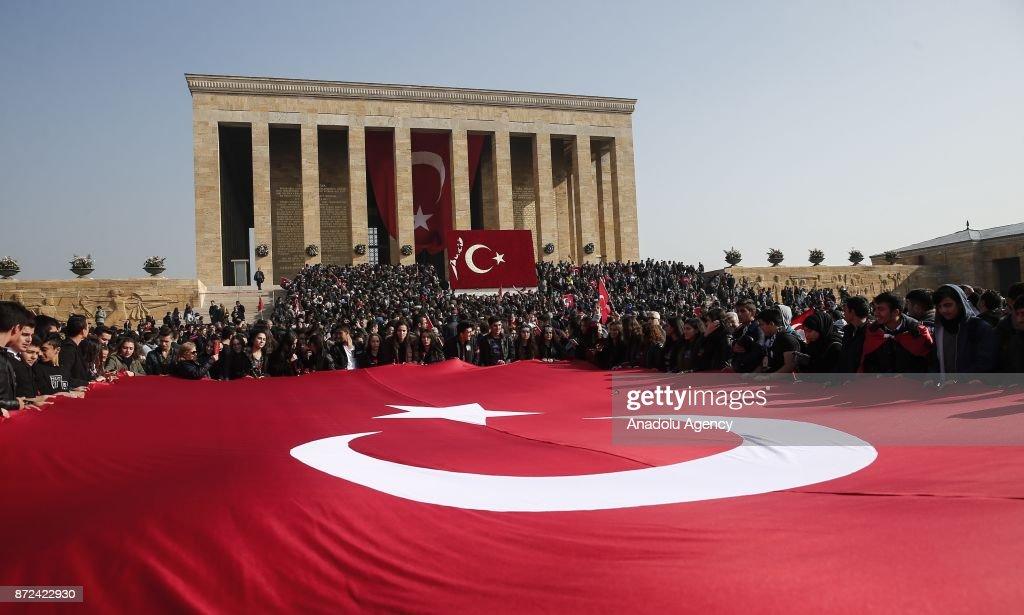 People visit Anitkabir, mausoleum of Mustafa Kemal Ataturk, founder of the Republic of Turkey, during the 79th anniversary of his death in Ankara, Turkey on November 10, 2017.
