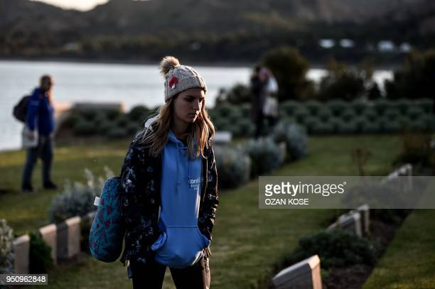 People visit Ariburnu Anzac cemetery at Anzac cove after a dawn service in Canakkale on April 25, 2018. - Anzac Day, named for the Australian and New...