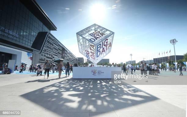People visit China International Big Data Expo 2017 on May 27, 2017 in Guiyang, Guizhou Province of China. China International Big Data Expo 2017 is...